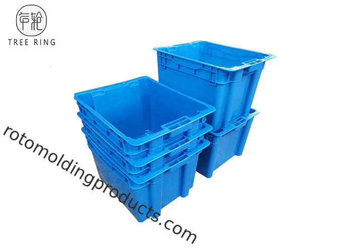 Square Fish Plastic Tote Boxes With Lids Food Grade 505 * 410 * 320 Mm Blue / Grey
