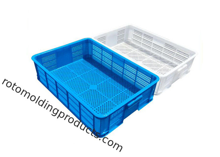HDPE Perforated Plastic Trays Collapsible Plastic Crate For Bread And Fish 600*420*145